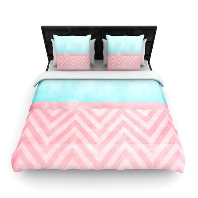 Light Chevron Pink and Turquoise by Ingrid Beddoes Woven Duvet Cover Size: King/California King