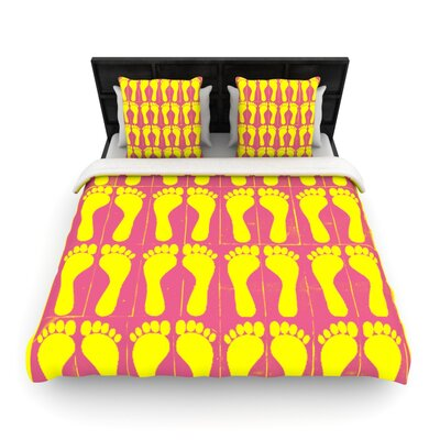 Footprints Yellow by Sreetama Ray Woven Duvet Cover Size: Twin