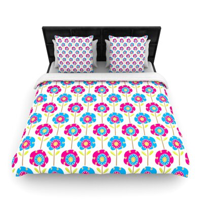 Lolly Flowers by Apple Kaurs Woven Duvet Cover Size: Twin