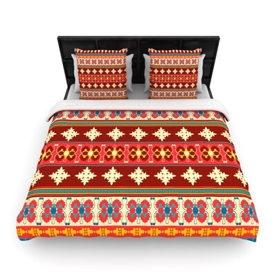 Borders Red by Nandita Singh Woven Duvet Cover Size: Queen