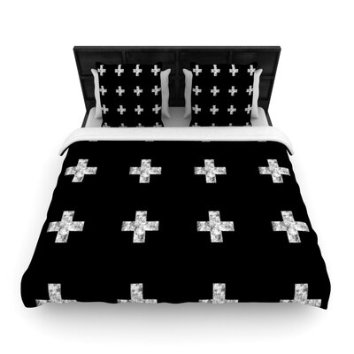 Swiss Cross Black by Skye Zambrana Woven Duvet Cover Size: King/California King