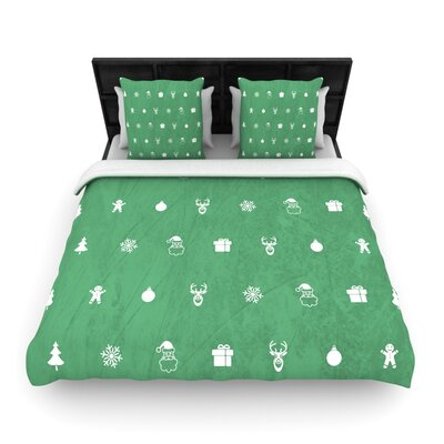 Cheery Pattern Green by Snap Studio Woven Duvet Cover Size: Queen