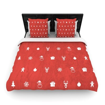 Cheery Pattern Red by Snap Studio Woven Duvet Cover Size: Twin