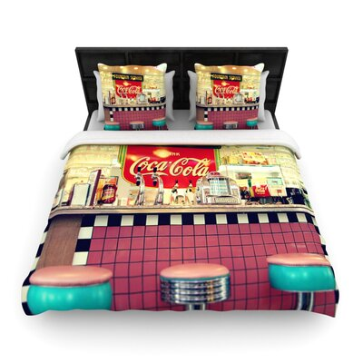 Retro Diner by Sylvia Cook Woven Duvet Cover Size: Queen