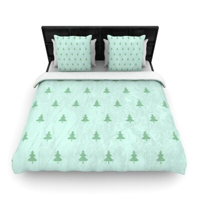 Pine Pattern Green by Snap Studio Woven Duvet Cover Size: King/California King