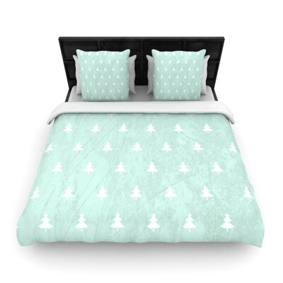 Pine Pattern Aqua by Snap Studio Woven Duvet Cover Size: Queen