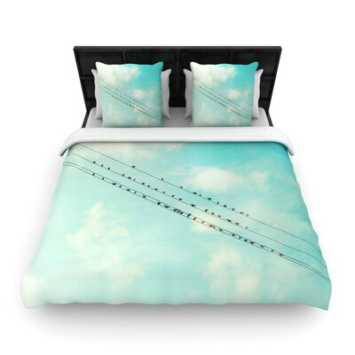 Birds on Wires by Sylvia Cook Woven Duvet Cover Size: Queen