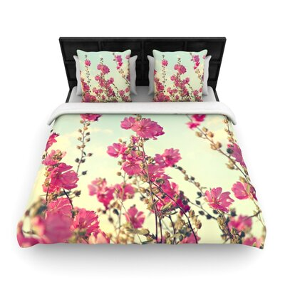 Pink Lavatera by Sylvia Cook Woven Duvet Cover Size: King/California King