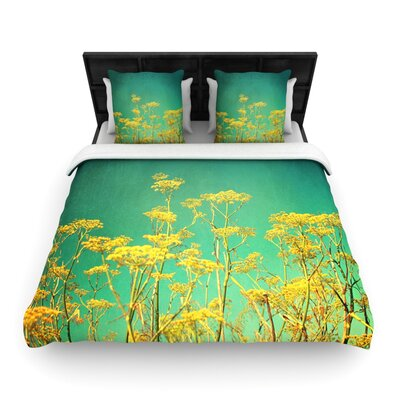 Yellow Flowers by Sylvia Cook Woven Duvet Cover Size: King/California King