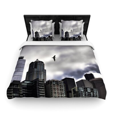 Seattle Skyline by Sylvia Cook Woven Duvet Cover Size: Twin