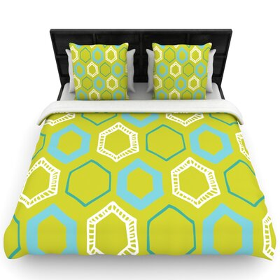 Hexy Lime by Laurie Baars Woven Duvet Cover Size: Queen