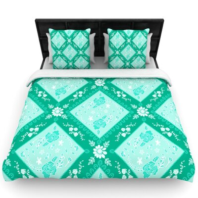 Diamonds Mint by Anneline Sophia Woven Duvet Cover Size: Queen
