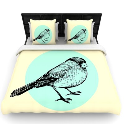 Old Paper Bird by Sreetama Ray Woven Duvet Cover Size: Twin