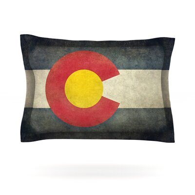 State Flag of Colorado by Bruce Stanfield Featherweight Pillow Sham Size: Queen, Fabric: Cotton