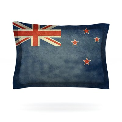 Flag of New Zealand by Bruce Stanfield Featherweight Pillow Sham Size: Queen, Fabric: Cotton