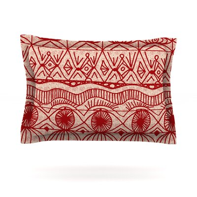 Cranberry and Cream by Catherine Holcombe Featherweight Pillow Sham Size: Queen, Fabric: Cotton