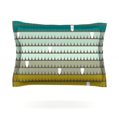 Teal Scallops by Pellerina Design Featherweight Pillow Sham Size: Queen, Fabric: Cotton
