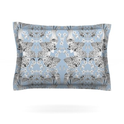 Versailles by DLKG Design Featherweight Pillow Sham Color: Blue, Size: Queen, Fabric: Cotton