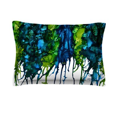 Drops by Claire Day Featherweight Pillow Sham Size: King, Color: Green, Fabric: Cotton