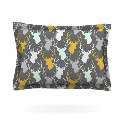 Scattered Deer by Pellerina Design Featherweight Pillow Sham Size: King, Color: Black, Fabric: Woven Polyester
