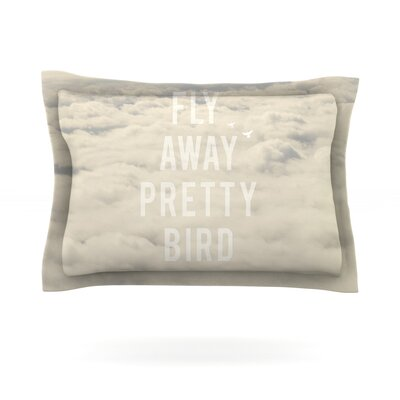 Fly Away Pretty Bird by Catherine McDonald Featherweight Pillow Sham Size: King, Fabric: Cotton