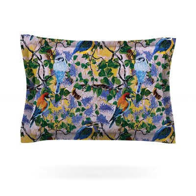 Birds by DLKG Design Featherweight Pillow Sham Size: King, Fabric: Cotton