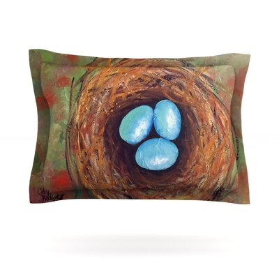 Robins Eggs by Cathy Rodgers Featherweight Pillow Sham Size: Queen, Fabric: Cotton