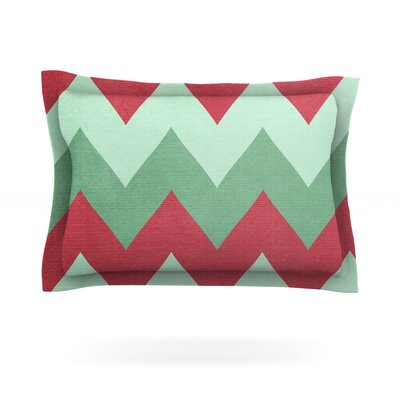 Holiday Chevrons by Catherine McDonald Featherweight Pillow Sham Size: Queen, Fabric: Cotton