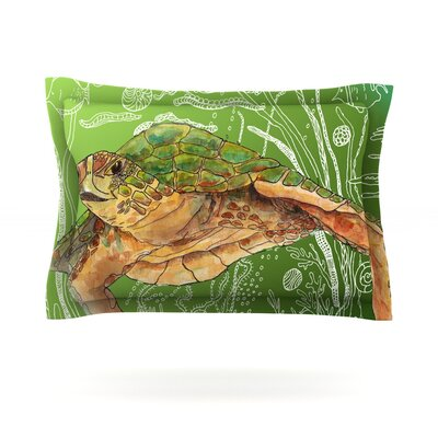 Shelley Green Sea by Catherine Holcombe Featherweight Pillow Sham Size: Queen, Fabric: Cotton