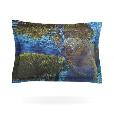 Manatees by David Joyner Featherweight Pillow Sham Size: Queen, Fabric: Cotton