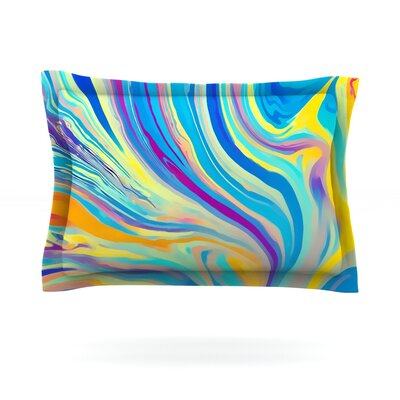 Rainbow Swirl by Ingrid Beddoes Featherweight Pillow Sham Size: King, Fabric: Cotton