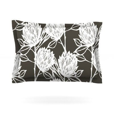 Protea by Gill Eggleston Woven Pillow Sham Color: Graphite White, Size: King