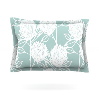 Protea by Gill Eggleston Woven Pillow Sham Size: King, Color: Jade White