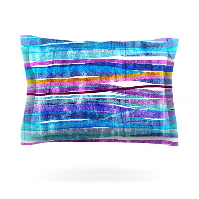Fancy Stripes by Frederic Levy-Hadida Woven Pillow Sham Size: King, Color: Dark Blue