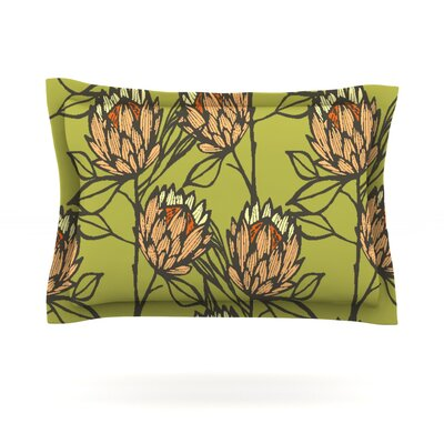 Protea by Gill Eggleston Woven Pillow Sham Size: King, Color: Olive