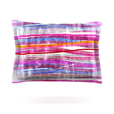 Fancy Stripes by Frederic Levy-Hadida Woven Pillow Sham Size: King, Color: Pink