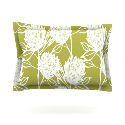Protea by Gill Eggleston Woven Pillow Sham Size: Queen, Color: Olive White