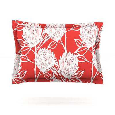 Protea by Gill Eggleston Woven Pillow Sham Size: Queen, Color: Strawberry White