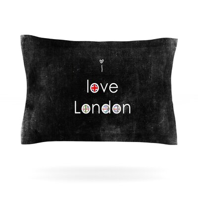 I Love London by Ingrid Beddoes Featherweight Pillow Sham Size: Queen, Fabric: Cotton