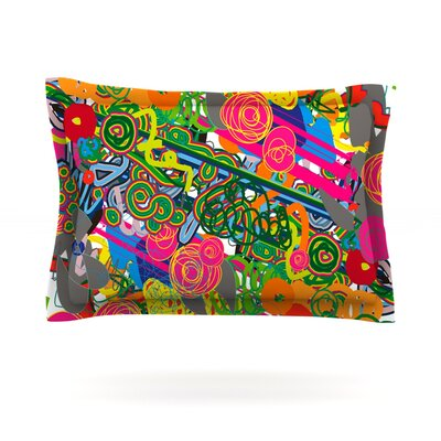 Psychedelic Garden by Frederic Levy-Hadida Featherweight Pillow Sham Size: Queen, Fabric: Cotton