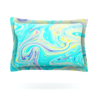 Aqua Swirl by Ingrid Beddoes Featherweight Pillow Sham Size: King, Fabric: Cotton