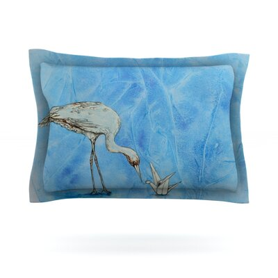 Crane by Kira Crees Featherweight Pillow Sham Size: King, Fabric: Cotton