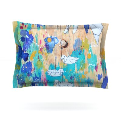 Origami Strings by Kira Crees Featherweight Pillow Sham Size: King, Fabric: Cotton
