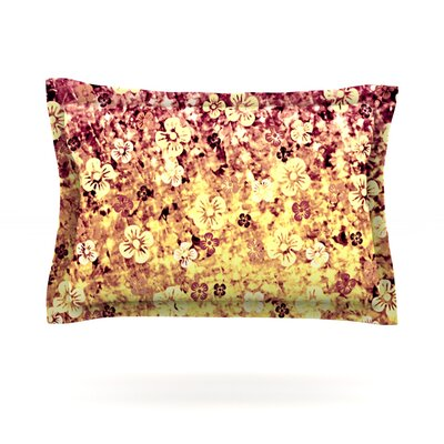 Flower Power by Ebi Emporium Featherweight Pillow Sham Size: King, Color: Yellow/Orange
