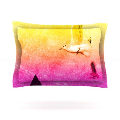 Seagulls in Shiny Sky by Frederic Levy-Hadida Featherweight Pillow Sham Size: Queen, Fabric: Cotton