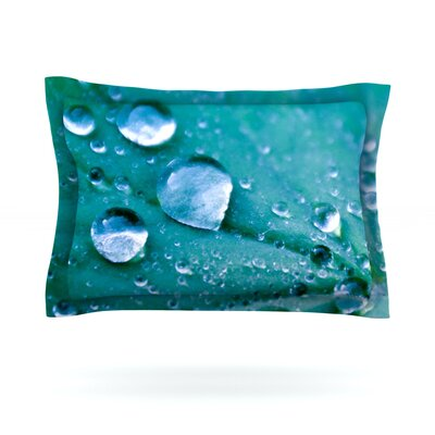 Water Droplets by Iris Lehnhardt Featherweight Pillow Sham Size: King, Color: Aqua, Fabric: Cotton