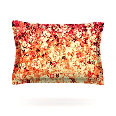 Flower Power by Ebi Emporium Woven Pillow Sham Size: Queen, Color: Red