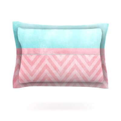 Light Chevron Pink & Turquoise by Ingrid Beddoes Featherweight Pillow Sham Size: Queen, Fabric: Cotton