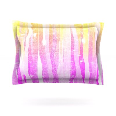 Jungle Stripes by Frederic Levy-Hadida Featherweight Pillow Sham Size: Queen, Color: Pink/Yellow, Fabric: Cotton