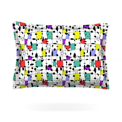 My Happy Squares by Julia Grifol Featherweight Pillow Sham Size: Queen, Fabric: Cotton